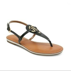 Tommy Hilfiger grain Black T-strap Sandals